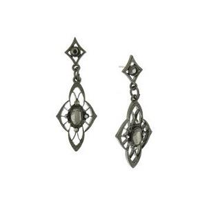Downton Abbey Jet Petite Edwardian Filigree Drop Earrings with Jet Navette Center Stone