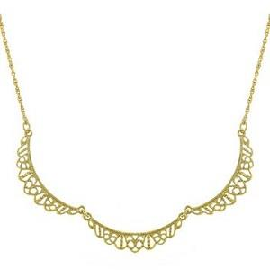 Downton Abbey Gold Tone Petite Belle Epoch Filigree Scallop Collar Necklace