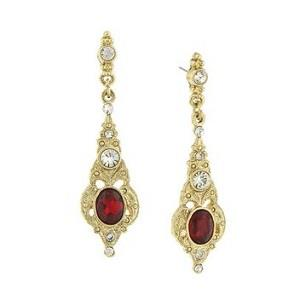 Downton Abbey Gold Tone Belle Epoch Drop Oval Ruby Stone Drops with Crystal Accents