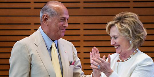 Designer Oscar de la Renta and Hillary Rodham Clinton attend the Oscar De La Renta: American Icon reception at the William J. Clinton Presidential Center in Little Rock, AR on July 8 (Wesley Hitt/Getty Images)