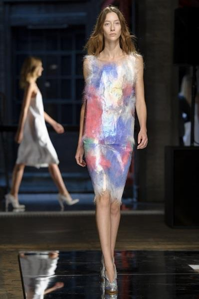 A model wears a design created by Christopher Kane during London Fashion Week Spring/Summer 2014, at the Farmiloe Building in central London, Monday, Sept. 16, 2013. (Photo by Jonathan Short/Invision/AP)