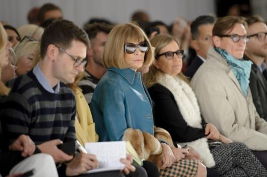 British editor-in-chief of American Vogue Anna Wintour sits in the front row at the Mulberry collection show during London Fashion Week Spring/Summer 2014, at Claridges Hotel in central London, Sunday, Sept. 15, 2013. (Photo by Jonathan Short/Invision/AP)