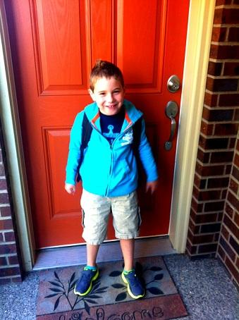 Little Mister on his first day, in last year's clothes. Credit: Gina Cohen