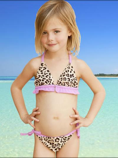 Elizabeth Hurley has a new line of bathing suits for young girls. Some