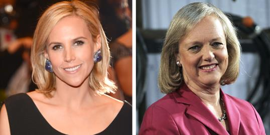 Photo: (From left) Tory Burch & Meg Whitman // Kevin Mazur/WireImage/Getty Images; Justin Sullivan/Getty Images