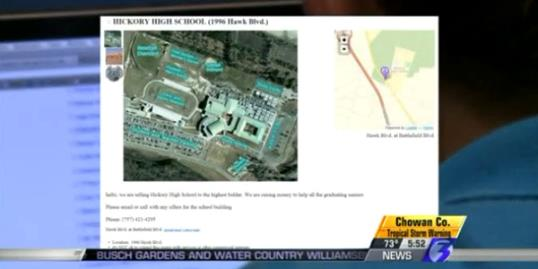 Photo: Still of the Craigslist ad showing Hickory High School for sale (WTKR, http://aka.ms/highschoolprank)