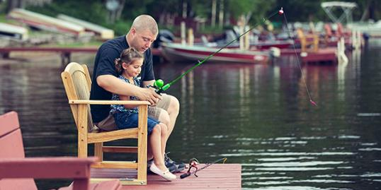 Photo: Father and daughter fishing / R. Nelson/Getty Images