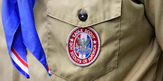 A Boy Scout Eagle badge and uniform is seen in this file photo taken in Orlando, Florida on May 30, 2012 (David Manning/Newscom/RTR)