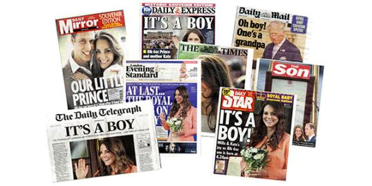 Newspaper headlines on July 23 covering the birth of a son, Prince George Alexander Louis, for Catherine and William, the Duke and Duchess of Cambridge (Rex Features)