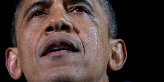 Photo: Carolyn Kaster/AP // Tears run down the cheek of President Barack Obama as he speaks at his final campaign stop on the evening before the 2012 election, Monday, Nov. 5, 2012, in the downtown Des Moines, Iowa.