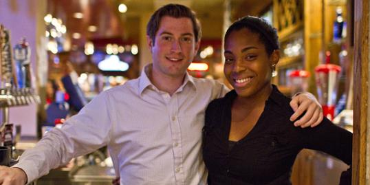 Photo: Kevin Matuszak, who would like to be the spokesman for Applebee's with Applebee's employee Jacque Brown. (Colin Kerrigan/Philly.com/MCT/LANDOV)