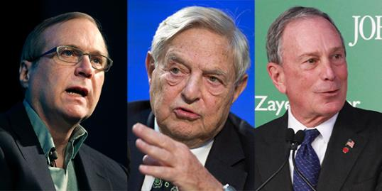 Photo: Paul Allen (Kim Kulish/Corbis); George Soros (Thomas Peter, Pool/AP); Michael Bloomberg (Spencer T. Tucker/AP/NYC Mayor's Office)
