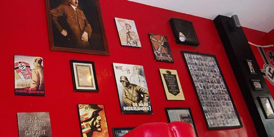 Nazi-related memorabilia hanging on a wall at Soldatenkaffe restaurant in Bandung, West Java, Indonesia. (AP)