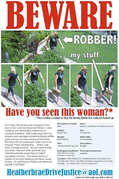 Still of Tim Lake of Arcadia, Ariz., and the poster he created to find the woman who stole his Amazon delivery from his doorstep (KPHO, http://aka.ms/stolen-package)