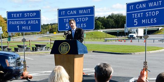 New York Gov. Andrew Cuomo speaks at a news conference at a highway rest stop (New York Governor's Office/AP)