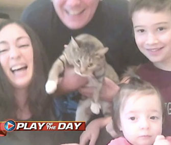 Photo: ABC News // The Urbano family welcomed a shelter cat after their kids made a plea for one on Facebook