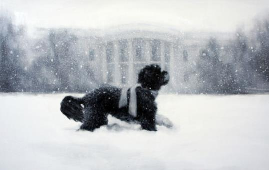 Photo: Whitehouse.gov // A painting of Bo running through the snow is featured on the White House holiday card.