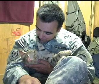Photo: Staff Sgt. Jesse Knotts helped Koshka the cat after the cat helped him / KPTV