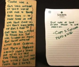 Photo: The firefighters left one note explaining how they cared for Duffy &#8212; and a second explaining how the dog had torn things up before they arrived. / Prince George's County