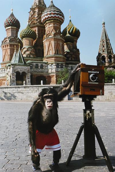 Photo of Mikko taken by artists Vitaly Komar and Alexander Melamid; Mikki's photos of Red Square (Courtesy of Sotheby's)