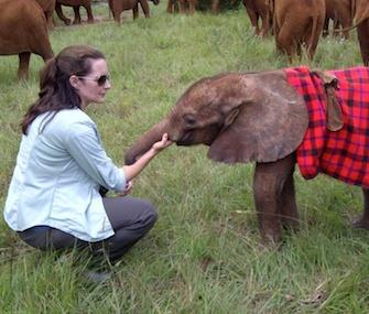 Photo: Actress Kristin Davis with Ajuba, the baby elephant she adopted. / Twitter / KristinDavis