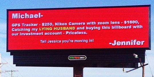 Photo: Woman calls out cheating boyfriend on billboard / Courtesy of Fox8 via Facebook, http://aka.ms/NCBillboard