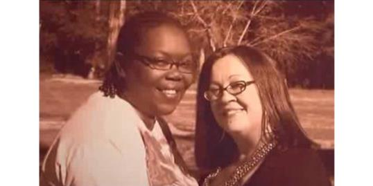 The engagement photo that Patricia Wrightner and Michelle Cooks say the Texarkana Gazette refused to print, along with their wedding announcement (KSLA News 12, http://aka.ms/texarkana-couple)