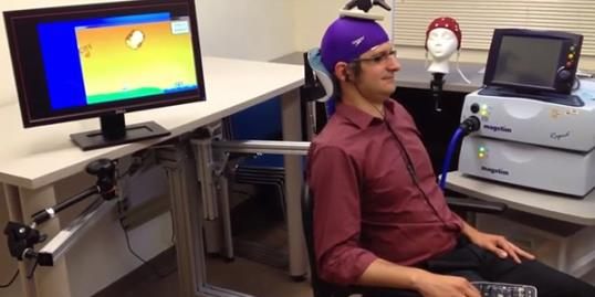 Still of the example trials from a pilot study of direct brain-to-brain communication in humans conducted by Rajesh Rao, Andrea Stocco, and colleagues at the University of Washington in Seattle (uwneuralsystems via YouTube, http://youtu.be/rNRDc7)