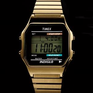 A gold Timex digital watch // Photo: Nigel Cox