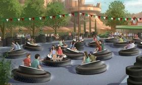 A sketch of the Luigi's Flying Tires ride at Disney's Car Land. (Photo via Autoweek.)
