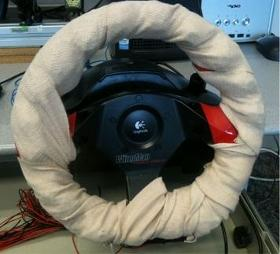 AT&amp;T Labs prototype vibrating steering wheel. Photo by AT&amp;T labs.