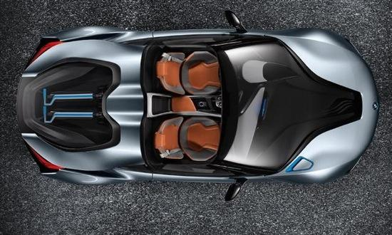 An overhead view of the BMW i8 spyder. Photo by BMW.