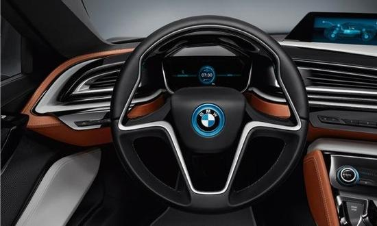 The instrument panel of the BMW i8 spyder. Photo by BMW.