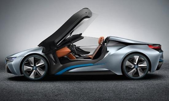 The doors of the BMW i8 spyder swing upward. Photo by BMW.