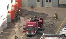 Firefighters respond to an explosion at the GM Tech Center in Warren, Mich. Photo by WXYZ ABC, courtesy of Autoweek.&#xA;