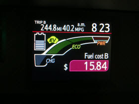 Toyota Prius C ECO Savings feature.