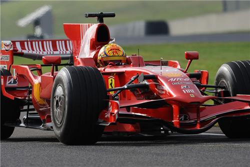 Above: Valentino Rossi in a Ferrari Formula 1 car.