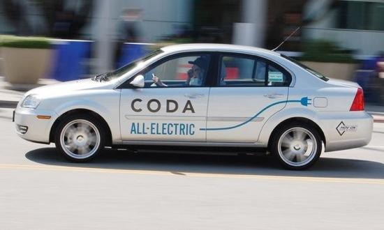 The Coda electric sedan was available for test drives.. Photo by Mark Vaughn.