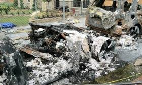 These are the remains of a Fisker Karma that, according to officials, sparked a garage fire. Photo courtesy of Autoweek.