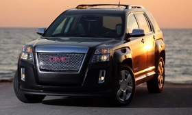 The base 2013 GMC Terrain Denali is equipped with a fuel-efficient 2.4-liter four-cylinder delivering 182 hp and 172 lb-ft of torque with front-wheel drive. Photo by GMC.
