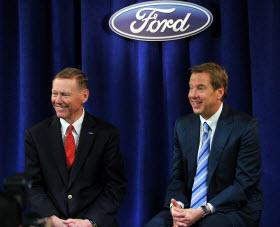 Alan Mulally and Bill Ford, Jr. Photo by Ford Motor Company.
