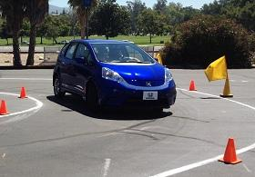 Honda Fit EV autocrossing at the Rose Bowl in Pasadena, Calif. (c) Clifford Atiyeh for MSN Autos