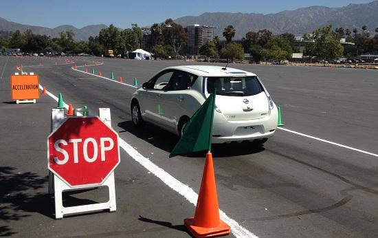 Nissan Leaf autocrossing at the Rose Bowl in Pasadena, Calif. (c) Clifford Atiyeh for MSN Autos