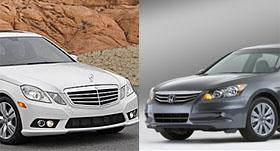 Mercedes E-Class and Honda Accord (c) MSN Autos