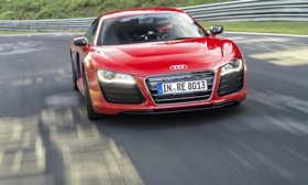 The Audi R8 e-tron uses a pair of electric motors to drive the rear wheels. Photo by Audi.