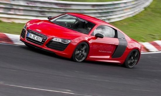 Audi says the electric R8 lapped the Nurburgring in 8 minutes and 9 seconds. Photo by Audi.