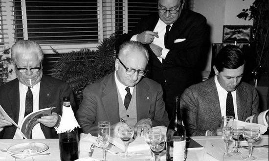 From left: Battista Pininfarina, Enzo Ferrari and Sergio Pininfarina are shown in this undated photograph. Photo credit: Ferrari.