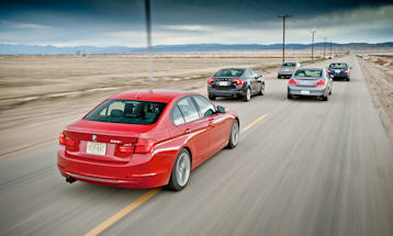 2012 BMW 328i vs. 2012 Audi A4 2.0T, 2012 Infiniti G25, 2012 Mercedes-Benz C250 Sport, 2012 Volvo S60 T6 AWD (Photo by James Lipman)