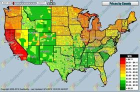 USA National Gas Price Heat Map from screenshot of Gasbuddy.com.