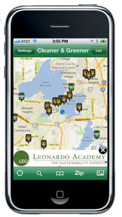 Cleaner and Greener Fuel iPhone app. Image by Leonardo Academy.